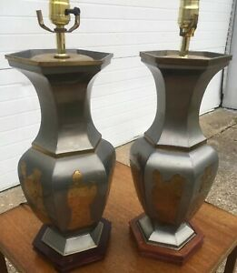 Vintage Pair Of Pewter Brass Asian Table Lamps