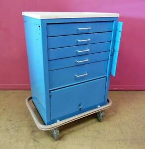 5 Drawer Mobile Steel Emergency Medical Procedure Cart Cabinet Stand