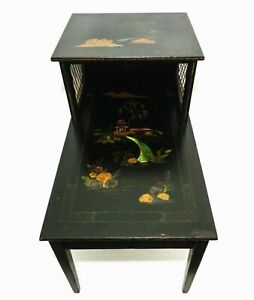 Katherine Henick Signed Vint Chinoiserie Black Lacquer Tiered End Table 1 Of 2
