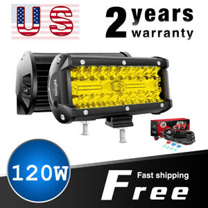 Nilight Amber 2pcs 5 Inch 72w Led Lights Bar Off Road Driving Fog Lamps 4wd Wire