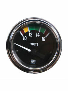 Stewart Warner Gauge Marine Voltmeter 10 16v 2 1 16 Electrical Black 82112