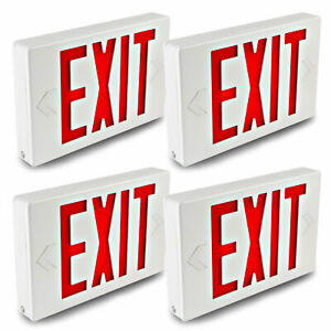 Hykolity Led Exit Emergency Light Double Red Letter With Battery Backup 4 Pack