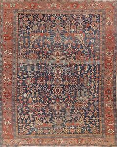 Antique Vegetable Dye Geometric Allover Rug 9 X 12 Hand Knotted Oriental Wool