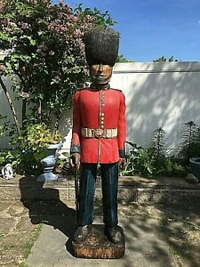 6ft Life Size Wood Vintage Statue Britsh English Guardsman Army Military Soldier