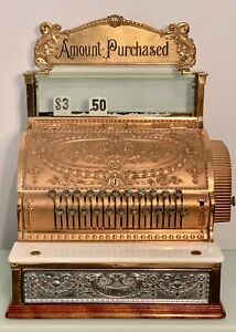Beautiful Rare Restored Brass National Cash Register Cira 1915
