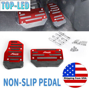 Aluminum Non Slip Automatic Car Gas Brake Foot Pedals Pads Cover Accelerator Red