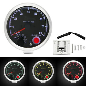 New Quality Universal Car 3 75 Inch Tachometer Tacho Gauge Meter Shift Light Us