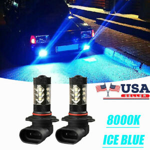 9006 Hb4 Led Fog Lights Bulbs Conversion Kit Cree Canbus 80w 8000k Ice Blue 2pc