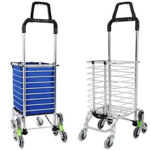 Folding Shopping Cart Utility Large Stair Climbing Cart Rolling Grocery Trolley