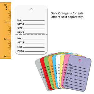 Perforated Price Tags In Orange 1 75 W X 2 85 H Inches Pack Of 1000