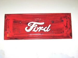 Vintage 1950 s Ford Truck Metal Tailgate Replica Wall Mount Hand Built Orange