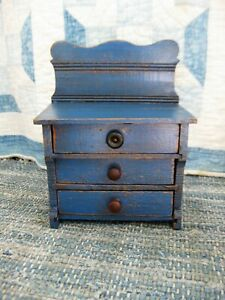 Small Antique Toy Chest Of Drawers Cupboard Blue Paint Free Shipping