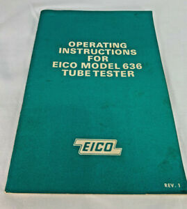 Eico 636 Tube Tester Manual With Schematic Original