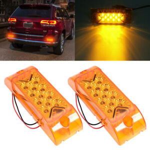 2x Led 6 Reflective Rectangle Side Marker Amber Clearance Lights Truck Trailer