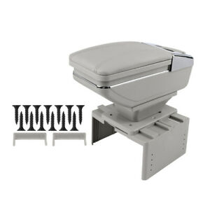 Universal Adjustable Rotatable Single Layer Design Car Center Armrest Box Gray