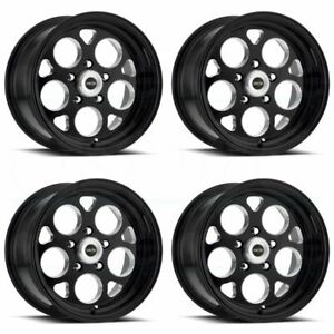 4 New 15 Vision 561 Sport Mag Wheels 15x8 15x10 5x4 75 0 0 Black Staggered Rims
