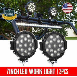 2x 7inch 180w Cree Led Round Work Light Spot Driving Head Lights Offroad Truck