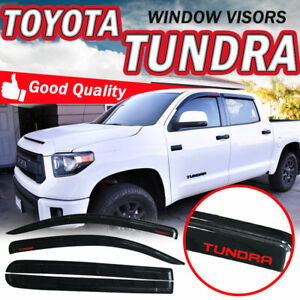 For 07 18 Toyota Tundra Crewmax Cab Rain Window Visors Tape on Smoke Shade Guard