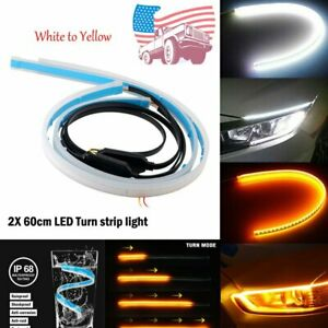 2x 60cm Led Turn Strip Light Daytime Running Sequential Flow Turn Signal Slim Us