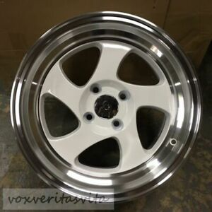 16 Swirl Tmb Style Wheels Rims White 4 Lug 4x100 Brand New Set Of 4 Step Lip