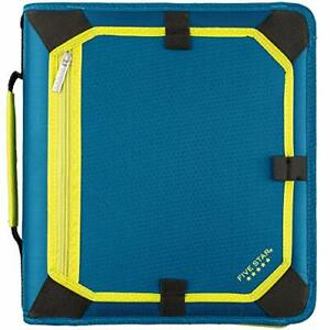 Five Star 2 Inch Zipper Binder 3 Ring Binder Expansion Panel Durable Teal ch