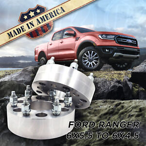 2pc 6x5 5 To 6x4 5 2 Wheel Spacers Adapters 93 1 Bore For 6 Lug Ford Ranger