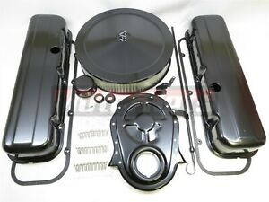 Bb Chevy Black Engine Dress Up Kit Tall Valve Covers Air Cleaner 65 90 Bbc 454