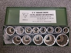 3 4 Square Drive 14 Piece Metric Socket Set New
