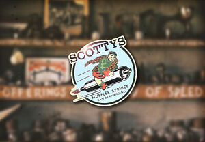 Scotty s Muffler Water Slide Decal Hot Rod Rat Race Exhaust Drag Pipes Flathead
