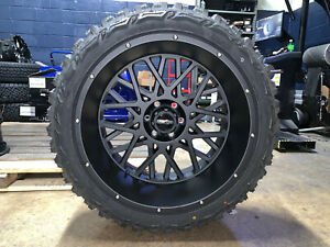 22x12 Vision Rocker Black Wheels Rims 33 Mt Tires Package 8x170 Ford F250 F350