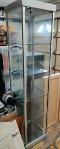 Glass Display Case W Led Lighting 4 Fixed Shelves Locking Door Silver