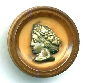 Antique Button Vegetable Ivory With Brass Woman Escutcheon 15 16