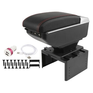 Universal Chargeable Adjustable Single Layer Design Car Armrest Box W Led 7 Usb