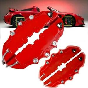 4pcs 3d Red Car Universal Disc Brake Caliper Covers Front Rear Accessories