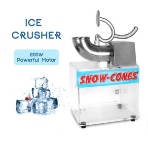 Commercial 200w Electric Ice Crusher Snow Cone Machine Ice Shaver Acrylic Box Ce