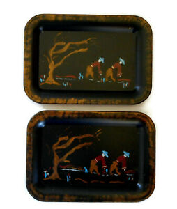 Toleware Vintage Metal Trays Oriental Asian Hand Painted Gold Accents Small 2