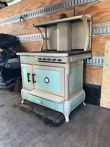 Antique Wood And Gas Burning Stove Oven Cabin Stove Tan And Green Porcelain