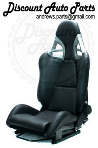 Porsche 997 Style Gt3 Reclining Seats In Black Leather W Frp Backing Gt2 Rsr