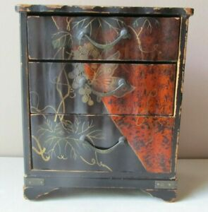 Antique 1920s Japanese Lacquer Painted Miniature Chest Drawers Box 7 Tall