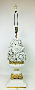 Vintage Large 36 White Porcelain 3d Flowers W Gold Gilt Centerpiece Table Lamp
