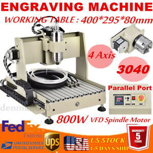 4 Axis 800w Vfd 3040t Cnc Router Engraver Wood Carving Drilling Milling Machine