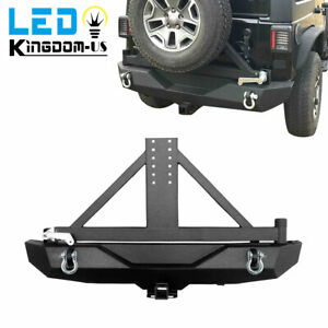 Heavy Duty Rear Bumper For Jeep Wrangler 07 18 Jk With Tire Carrier D Ring