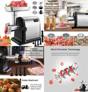 Electric Meat Grinder 2000w Heavy Duty Stainless Steel Sausage Stuffer Tubes New