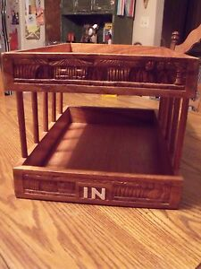 Vtg Handcarved Philippines Wooden In out Desk Tray 2 Tiers Letter Organizer Den