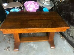 Antique Library Table Oak Geo O Palmer Furniture Co 1920s
