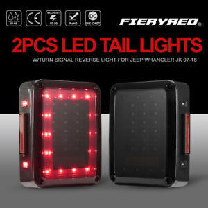2pcs Led Tail Lights W Turn Signal Brake Light Smoked Lens For Jeep Wrangler Jk