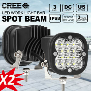 2x 3inch 80w 4 rows Round Led Work Spot Light Fog Driving Offroad 12v Suv Boat