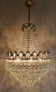 French Basket Style Vintage Brass Crystals Chandelier Antique Lamp
