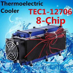 576w 8 chip Tec1 12706 Diy Thermoelectric Peltier Cooler Air Cooling Devices New