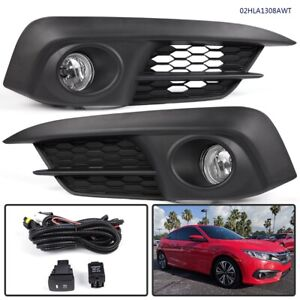 For Honda Civic 2016 2017 Front Bumper Fog Lights Clear Lamps Switch Bulbs